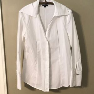 Classic white Talbots shirt with decorative button
